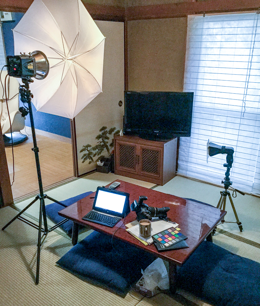 Andrew's studio equipment on location in Japan