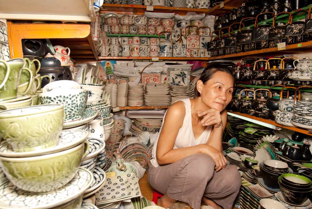 A ceramics seller at the Ben Thanh Markets, Saigon