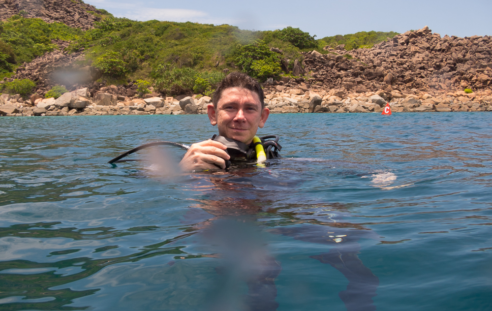 Andrew scuba diving in Vietnam