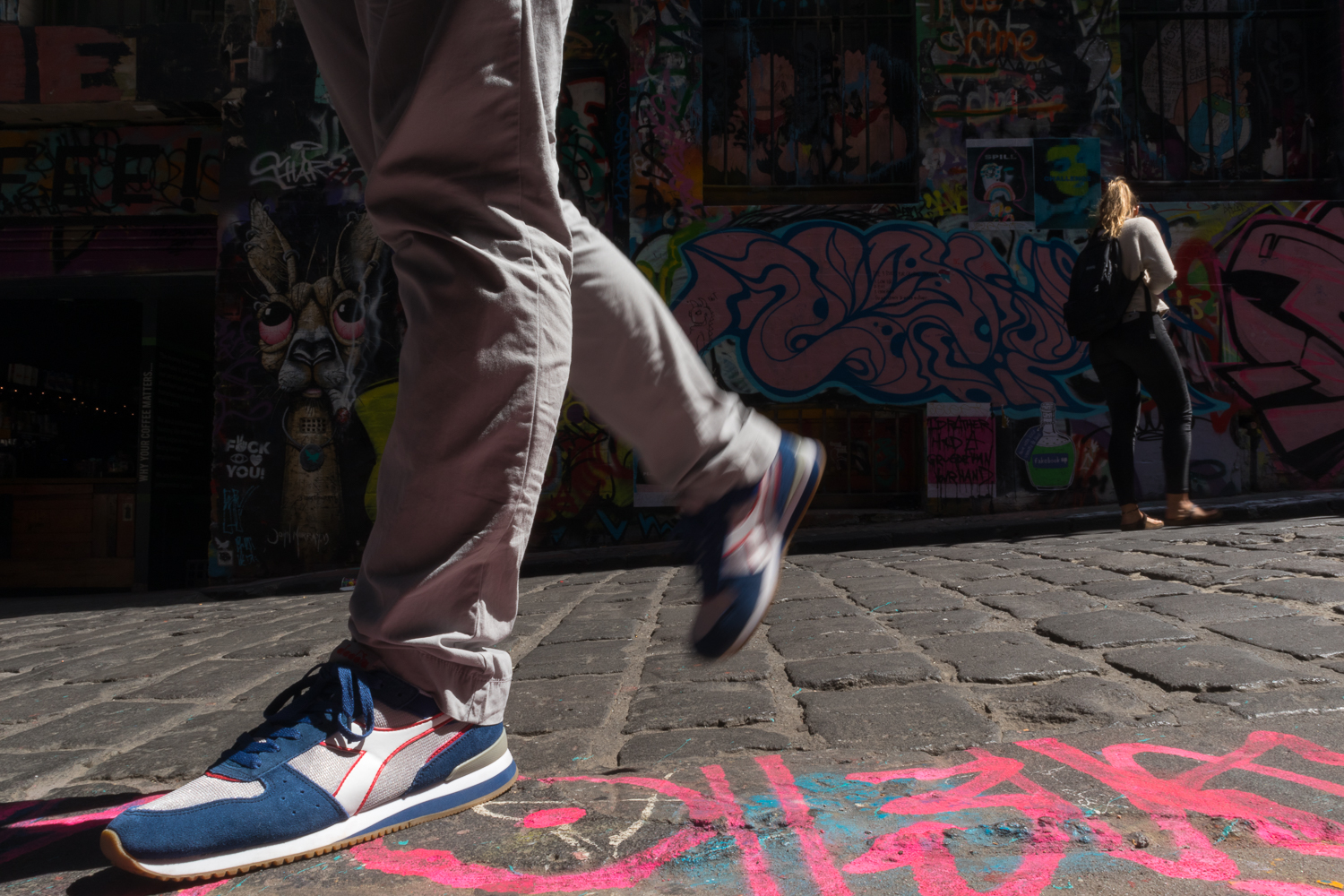 Andrew posing with Diadora sneakers in Melbourne's graffiti lane, Melbourne Australia