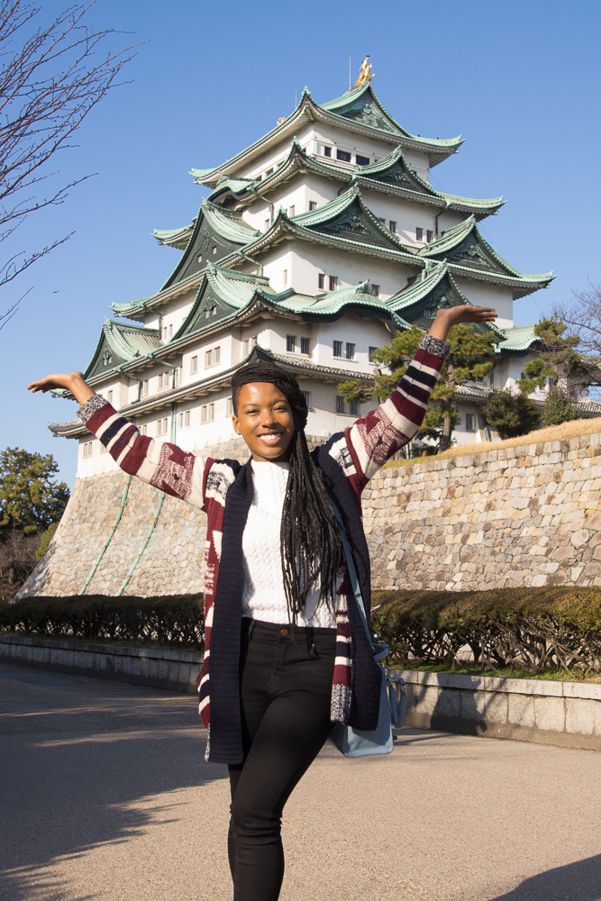 A young American woman at Nagoya Castle