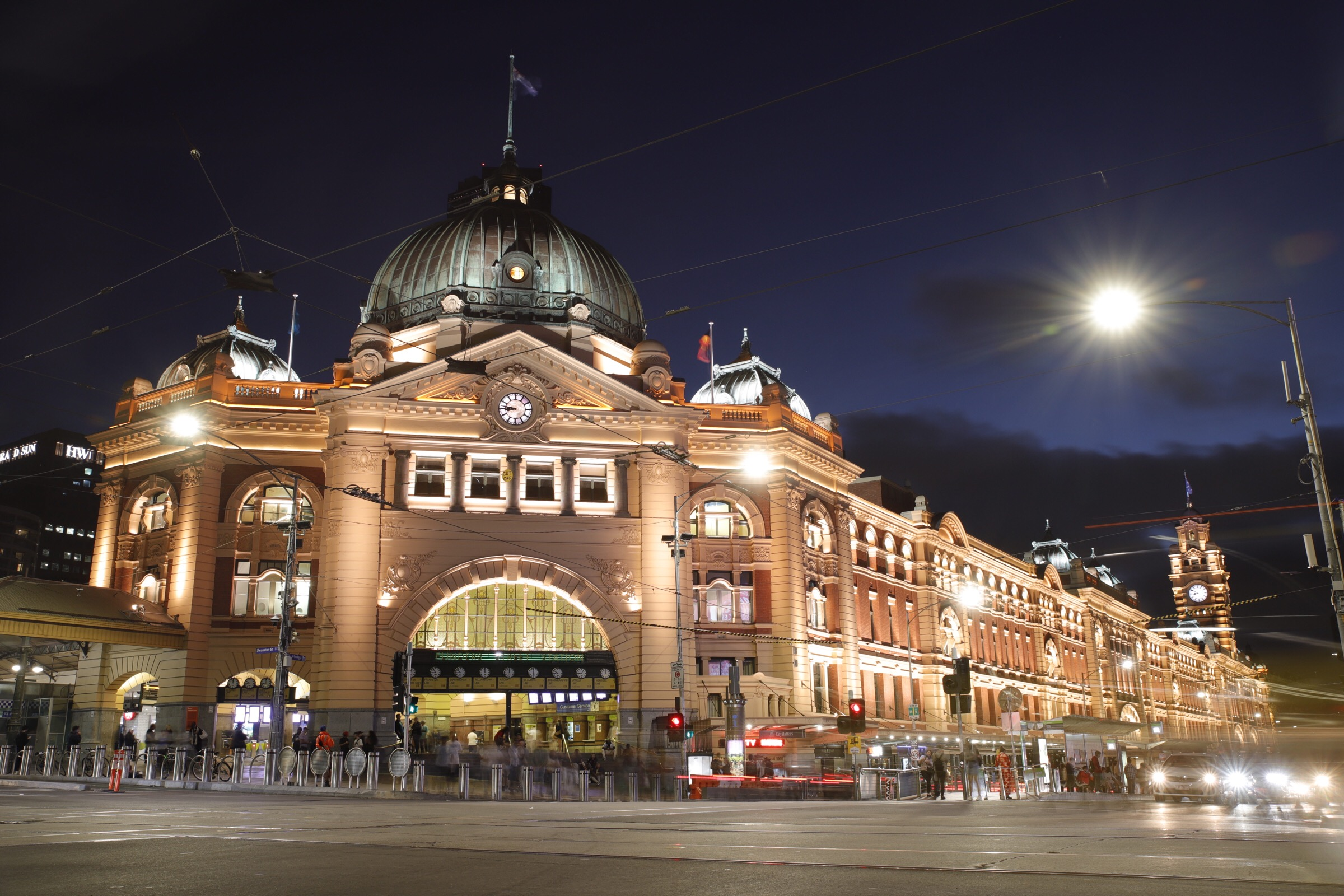 Melbourne's iconic Flinders Street Station at night.